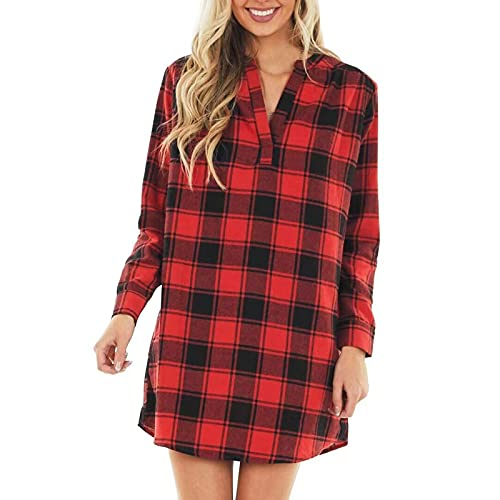 Mujeres Casual Loose Red Plaid Print Mid-Length V-Neck Shirt Dress Autumn Vestido Camisero a Cuadros Rojos de Mujer con Cuello en V