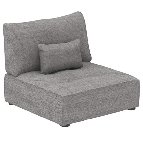 Marchio Amazon -Alkove Elvas - Divano Modulare - Modulo a seduta singola con vano contenitore e cuscino extra, 93 x 100 cm, grigio