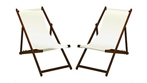 MultiBrands 2 tumbonas de madera con barniz marrón oscuro, color blanco sin reposabrazos, plegables, con funda de tela intercambiable