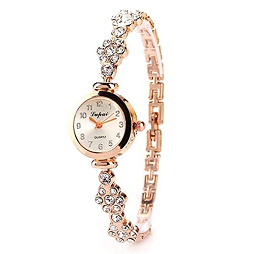 Montloxs Reloj de Cuarzo de Moda Crystal Alloy Bracelace Ladies Bracelace Watch Reloj de Pulsera para Mujer