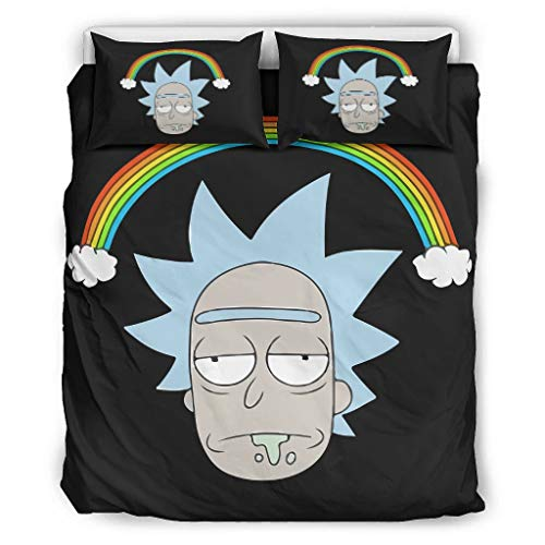 Hothotvery Rick & Morty 3-Piece Bedding Set Printed Soft Comforter Cover Quilt Cover and Pillow Shams White 264 x 229 cm