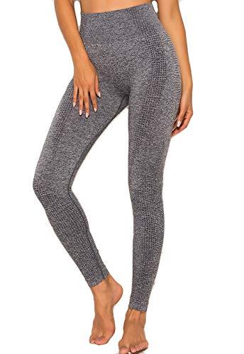 FITTOO Leggings Sin Costuras Corte de Malla Mujer Pantalon Deportivo Alta Cintura Yoga Elásticos Fitness Seamless #2 Gris Small