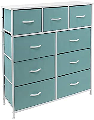Sorbus Dresser with 9 Drawers - Bedside Furniture & Night Stand End Table Dresser for Home, Bedroom Accessories, Office, College Dorm, Steel Frame, Wood Top (Aqua)