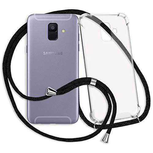 mtb more energy® Handykette kompatibel mit Samsung Galaxy A6 2018 (SM-A600, 5.6'') - schwarz - Smartphone Hülle zum Umhängen - Anti Shock Strong TPU Case