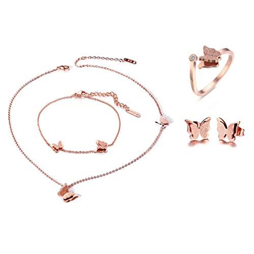 Cupimatch [4 Pezzi] di Combinazioni Collana Bracciale Orecchini Anello Farfalla Acciaio Inossidabile Donna Oro Rosa Regalo Perfetto (4 set)