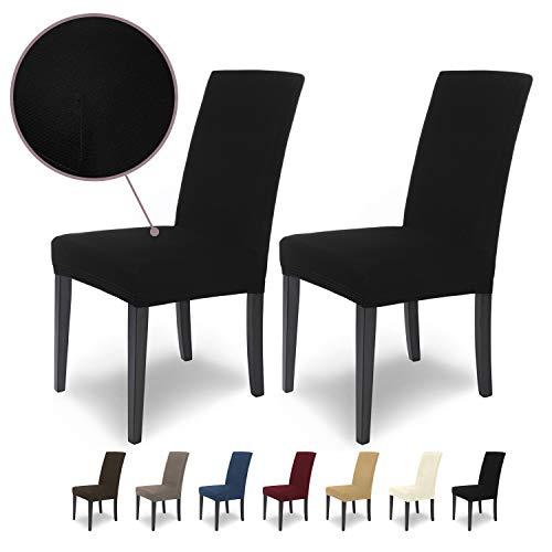 SCHEFFLER-Home Stretch Stuhlhusse Mia | 2er Set elastische Stuhlabdeckungen | Stuhlhussen Schwingstühle | Mikrofaser Spannbezug mit Gummizug | Elegante Stuhlbezüge
