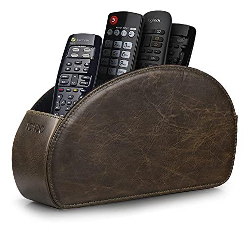 Londo - Soporte para Mando a Distancia con 5 Bolsillos, Espacio para DVD, BLU-Ray, TV, o Apple TV, Mando a Distancia, Piel Italiana con Forro de Ante, Verde (OTTO149)