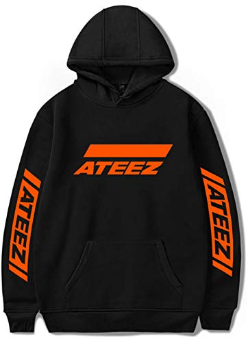 SIMYJOY Ateez A Teenager Z K-POP Kapuzenpullover Hip Hop Street Fashion Hoodie Casual Langarm Sweatshirt Treasure EP.1 : All to Zero Geschenk für Fans Schwarz L