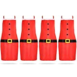 4 Pieces Red Christmas Aprons Santa Claus Apron Christmas Holiday Kitchen Apron for Women Children Christmas Party Chef Cooking Baking House Cleaning Gardening