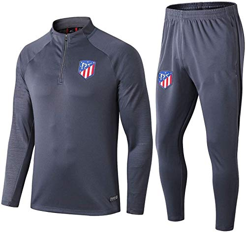 PARTAS Offizielle Fußball-Geschenk Langarm Atletico Madrid Tracksuits Football Wear Verein Uniform Atletico Madrid Trainingsanzug Wettbewerb Anzug Herren-Top + Pants (Size : XXL)