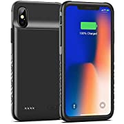 Swaller Battery Case for iPhone X XS 10, 4000mAh Slim Portable Charging Case Protective Rechargeable Charger Case Extended Battery Compatible with iPhone X XS 10 (5.8 inch) (Black)