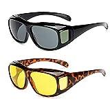 Gafas de visión nocturna polarizadas de 2 piezas que se ajustan a las gafas graduadas que envuelven las gafas de sol para protección