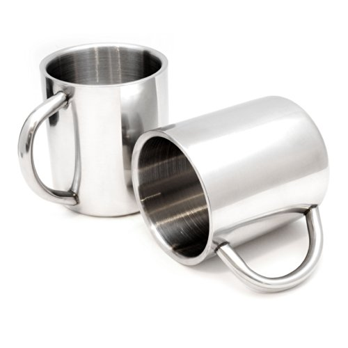 2er SET Edelstahl Becher/Thermobecher doppelwandig isoliert 220ml, Trinkbecher/Tasse in der Farbe Silber - Marke Ganzoo