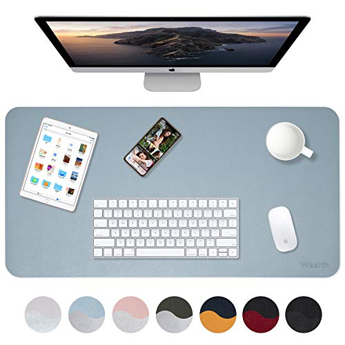 Weelth Multifunktionale doppelseitig Schreibtischunterlage, PU-Leder Tischunterlage ultradünn, wasserdicht, Mauspad für Büro/Zuhause (600 * 350mm, Hellblau/Silber)