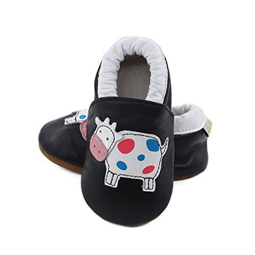Vesi-WeichesLeder Lauflernschuhe Krabbelschuhe Babyschuhe Schlüpfen Atmungsaktiv Junge Mädchen Schwarze Kuh Größe M:6-12 Monate