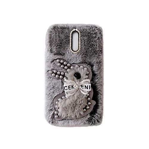 YHY Samsung J5 2017 EU Estuche Teléfono Móvil Estilo Lindo 3D Perla Linda Peluche De Conejo para Samsung Galaxy J5 2017 EU Gris Oscuro