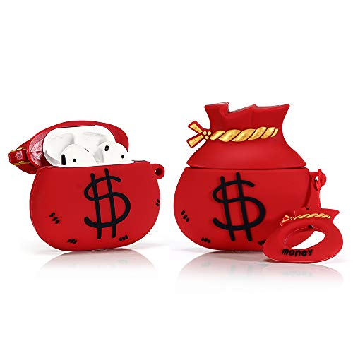 LEWOTE Airpods Silicone Case Cover Compatible for Apple Airpods 1&2[Funny Design][Best Gift for Girls Kids or Woman] (Money Bag Red)(1 Pack)