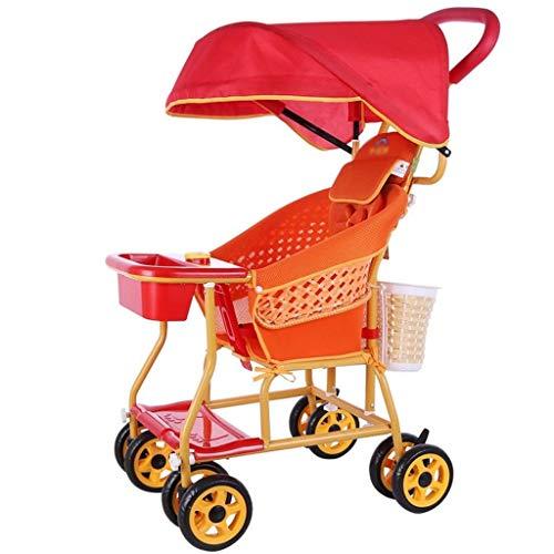QIFFIY Cochecito de bebé Cochecito de bebé de Mimbre Carro de bebé Bambú y ratán Cuatro Ruedas con Ruedas Sillón de ratán de Verano Asiento de niño pequeño Cochecito Carriola (Color : B)