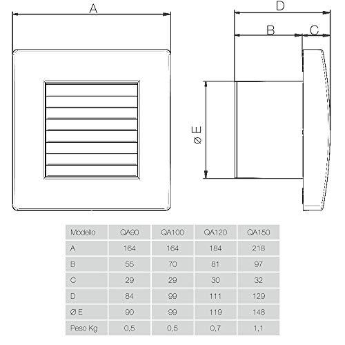 QS90 di Aerauliqa 003171 Aspirador axial di/ámetro 90 mm, 8 W, 60 m3//h