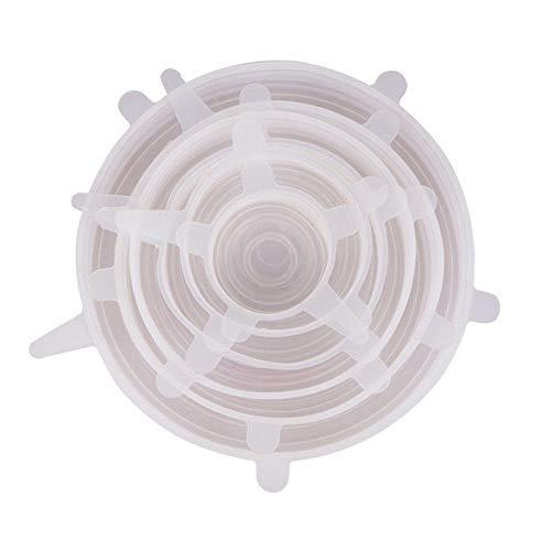 Siliconen Stretch Deksel, 6 stuks, herbruikbaar voedsel bewaring Deksel en Uitbreidbaar Deksel, bpa-vrij, voor voedsel container Bowl Deksels van alle vormen en maten, voor Vaatwassers en koelkasten Kleur: wit