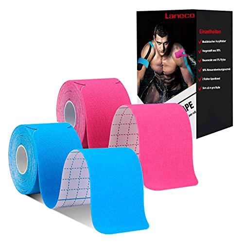 Laneco Kinesiotapes Vorgeschnitten (5m x 5cm-20 precut) Rolle, elastische Kinesiologie Tape 2er Set für den Sport, für Knie, Schulter und Ellenbogen, Athletische Wasserfestes Sport Tape(Blau+Pink)