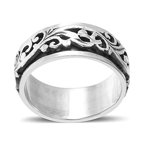 Shop LC 925 Sterling Silver Mens Womens Spinner Band Ring Boho Handmade Stress Anxiety Relieving Statement Celtic Floral Vintage Jewelry Gifts Size 8 Unique Gifts for Women