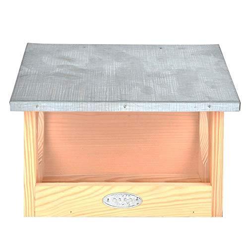 Esschert Design eekhoorntje voederhuis van grenenhout, 25,3 x 17,6 x 18,7 cm, nestkast, voederstation met zinkdak, weerbestendig