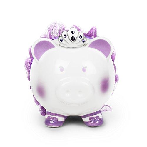 FAB Starpoint Swarovski with Crown Princess Porcelain Piggy Bank for Kids (Purple)