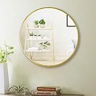 "Beauty4U 16"" Wall Circle Mirror Large Round Gold Farmhouse Circular Mirror for Wall Decor Big Bathroom Make Up Vanity Mirror Entryway Mirror"