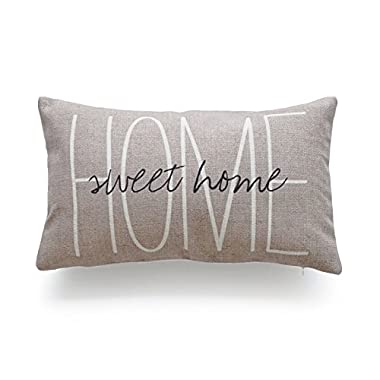 Hofdeco Lumbar Pillow Case Tan Grey His and Her Love Script HEAVY WEIGHT FABRIC Cushion Cover 12x20 (1Pc Tan Sweet Home)