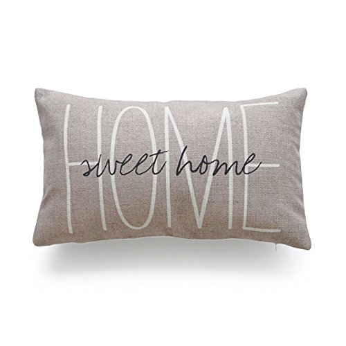 Hofdeco Decorative Cushion Cover HEAVY WEIGHT Cotton Linen His and Her Tan Home Sweet Home Script 30cm x 50cm