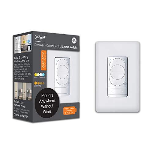 C by GE - Regulador de intensidad sin cable + interruptor inteligente de control de color, Bluetooth, interruptor inteligente alimentado por pilas, extraíble, blanco, 1 paquete