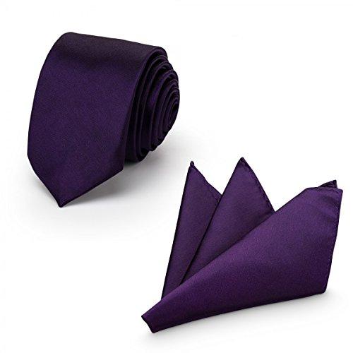 Rusty Bob - Krawatte mit Einstecktuch (in vielen Farben) - für die Verlobung, die Hochzeit - Schlips mit Taschentuch für das Sakko - 2er-Set - Lila