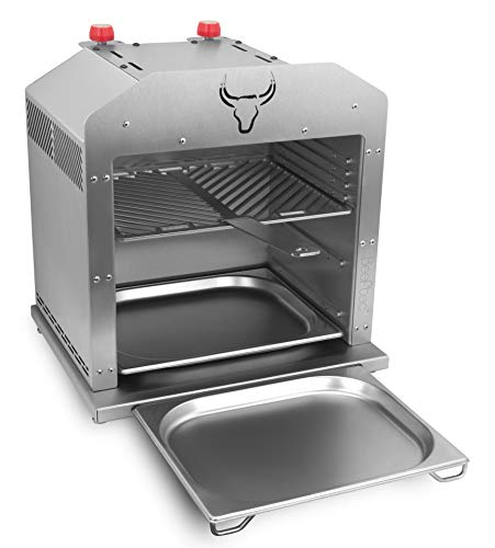 Beeftec Hotbox XL | Der 800 Grad Oberhitze-Gasgrill aus Edelstahl - Made in Germany | inkl. Grillrost, Grillhandschuhe, 2 x Gastroschale u.v.m.