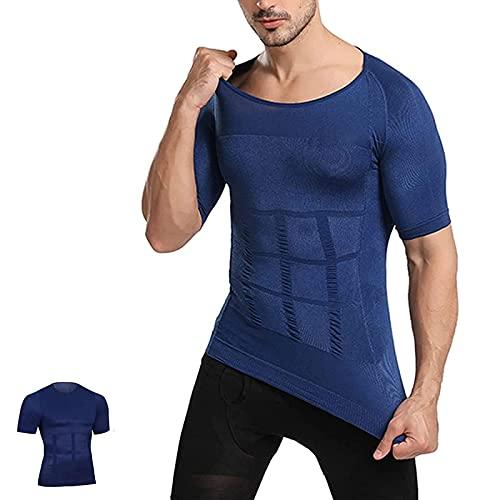 WENLIANG Secondskin Men's Shaper Cooling T-Shirt, Camisas De CompresióN para Hombre Chaleco Adelgazante Body Shaper para Camisetas De Entrenamiento De Gimnasio L Blue