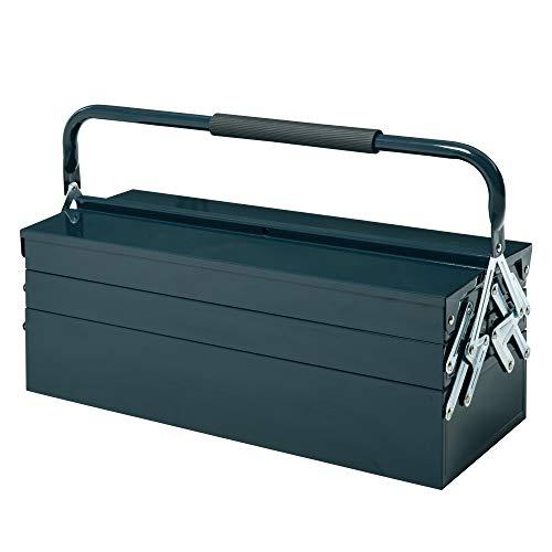 DURHAND Caja de Herramientas de Acero Plegable Portátil con 5 Compartimentos y Mango de Transporte para Taller Bricolaje Hogar 57x21x41 cm Verde