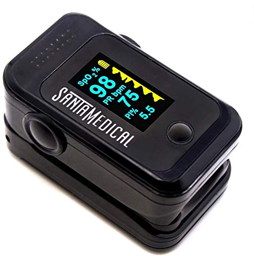 Pulse Oximeter Fingertip, Blood Oxygen Saturation Monitor (SpO2) with Pulse Rate Measurements and Pulse Bar Graph, Portable Digital Reading OLED Display