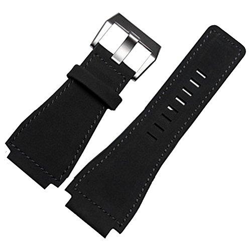 Correa de reloj de cuero negro de 24 mm hecha para BR01 BR03 pulsera militar hebilla S.S
