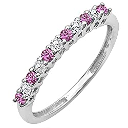 10K Gold Round White Diamond & Pink Sapphire Ladies Anniversary Stackable Wedding Band