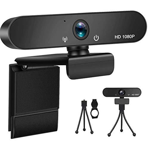 1080P Webcam con microfono, copertura privacy, treppiede, USB Plug and Play, webcam per pc, desktop, laptop, streaming webcam integrato, utilizzato per conferenze, Youtube, videochiamate