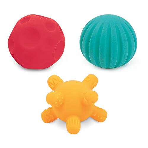 Ludi Trio de Petites Balles Sensorielles Formes et Couleurs Différentes Plastique Souple 6 Mois ref. 30079 Multicolore, 6,8 cm