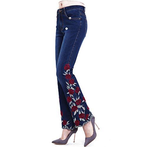 ARRILR.H Pantalón de Mujer con Bordado en la Parte Inferior de la Cintura Alta Pantalones Acampanados para Mujer Pantalones Vaqueros Bordados con Flores de Mezclilla