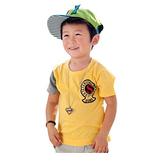 Mode T-shirt à manches courtes pour homme T-shirt pour garçon - Jaune - Taille Unique