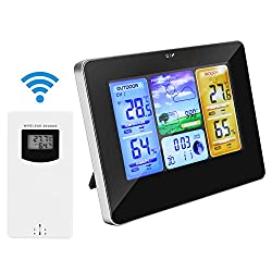Allnice Weather Stations Wireless Indoor Outdoor with Alert and Temperature/Humidity/Barometric/Forecast/Moon Phase/Alarm Clock, LCD Digital Weather Station with Outdoor Sensor for Home Office