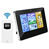 Allnice Weather Stations Wireless Indoor Outdoor with Alert and Temperature/Humidity/Barometric/Forecast/Moon Phase/Alarm Clock, LCD