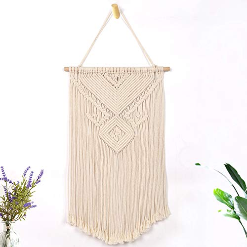 Weiyue Boho Macrame Wall Hanging Woven Tapestry, Chic Tassels Pendant Hippie Bohemian Wall Art Bedroom Living Room Dorm Backdrop Home Decorations