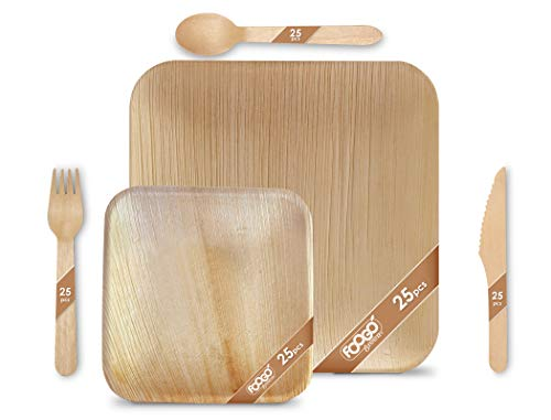 FOOGO Green 125pcs Disposable Palm Leaf Plates and Wooden Cutlery Set|25 Large Square Plates, 25 Small Side Plates, 25 Forks, 25 Knives, 25 Spoons|Eco Friendly Biodegradable|Party Paper Bamboo Plates
