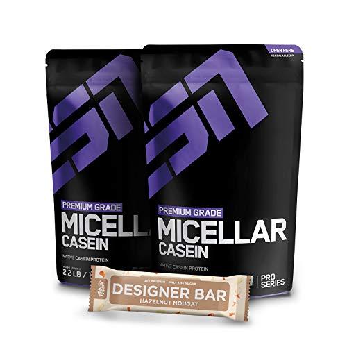 2 x 1000g. ESN Micellar Casein +1 x Gratis ESN Tasty Bar 2 x Natural