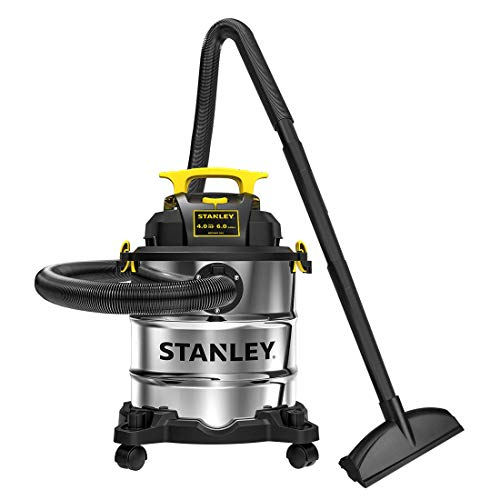 Stanley SL18116 Wet/Dry Vacuum, 6 Gallon, 4 Horsepower, Stainless Steel Tank, 4.0 HP, Silver+Yellow