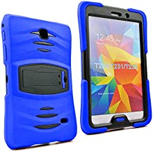 Galaxy Tab 4 7.0 2014 T230 Case, KIQ Shockproof Full-Body Military Drop Proof Heavy Duty Cover Kickstand Screen Protector for Samsung Galaxy Tab 4 7 SM-T230 SM-T230NU (Armor Dark Blue)